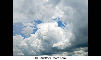 temps, sur, défaillance, agrafe, ciel bleu, nuages, pluvieux, pelucheux, défaillance, blanc