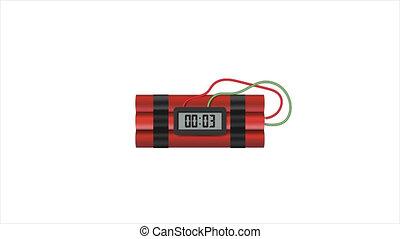 temps, timer., dynamite, animation, bombe, vidéos, alfa, ...