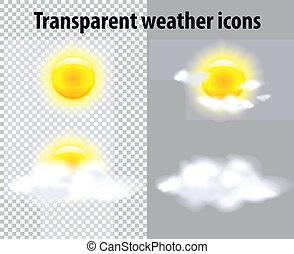 temps, transparent, icônes