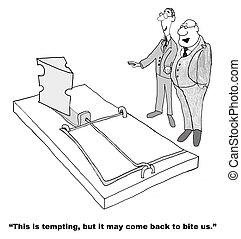 Temptation - Business cartoon about temptation.