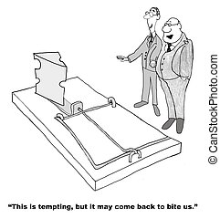Temptation - Business cartoon about temptation.