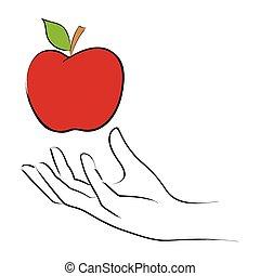 Temptation - Line art illustration of a hand grabbing an...