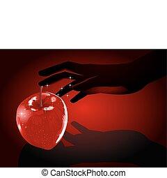 Temptation - Illustration of woman hand grabbing an apple