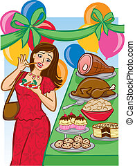 Tempting Holiday Buffet - Vector Illustration of a woman...