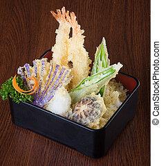 tempura., 日本語, 海原, 混合, cuisine., 背景, 野菜, 揚げられている