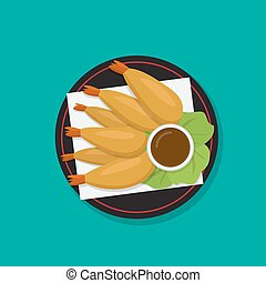 Tempura shrimp on black dish, japanese food vector, vector