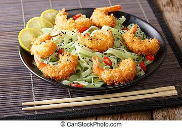 tempura, tè, gamberetto, sesamo, verde, macha, pasta, close-up., orizzontale