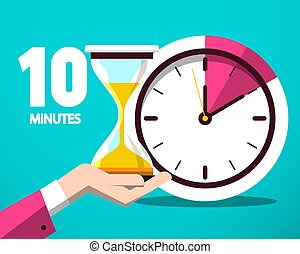 Ten 10 Minutes Counter Clock and Hourglass Vector Flat Design Icon