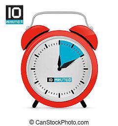 Ten 10 Minutes Red Alarm Clock Vector Illustration