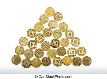 Ten agorot coins Israeli bank .
