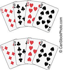 Playing cards: ten and nine poker isolated
