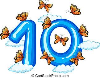 Ten butterfly on sky