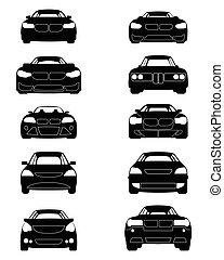 Ten cars silhouettes