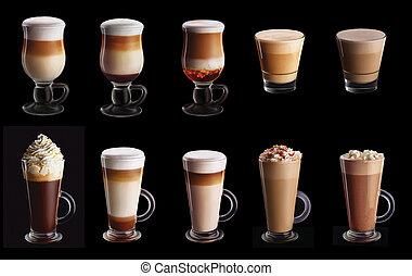 Ten coffee coctails collage set
