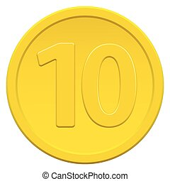 Ten coin - Gold coin icon with the symbol of number ten