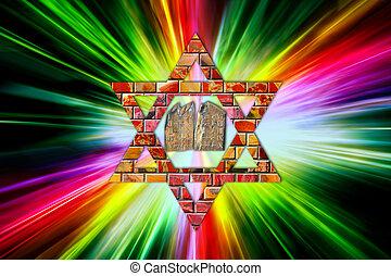 Ten Commandments and Star of David - Ten Commandments on...
