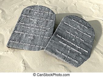 Ten Commandments In The Desert - Two stone tablets with the...