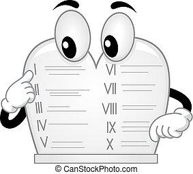 Ten Commandments Stone Tablet Mascot Illustration