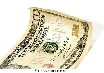 Ten Dollar Bill - Photo of a Curled Ten Dollar Bill