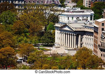 Ten dollar bill Treasury Building in Washington
