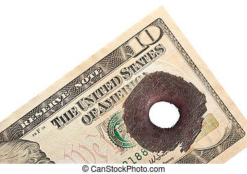 ten dollar with bullet hole