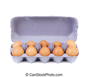 Ten eggs in a blue carton box.