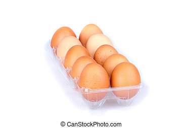 Ten eggs in a plastic transparent package