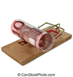 Ten Euro Banknote in Mouse Trap.