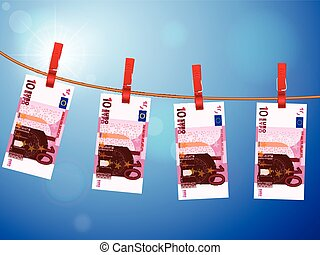 ten euro banknotes on clothesline