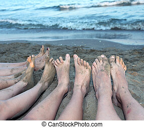 ten feet of a family by the sea on the beach in summer