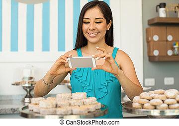 ten, fotografia, wpływy, pastries