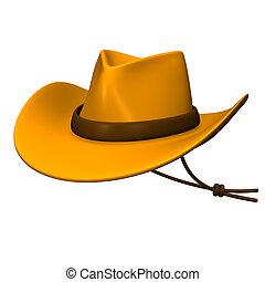 Ten-gallon Hat. 3D render illustration. Isolated on White.