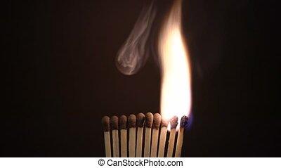 Ten Match Sticks Are Lit And Then Smoke. - Ten Match Sticks...