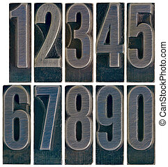 ten metal type numbers isolated