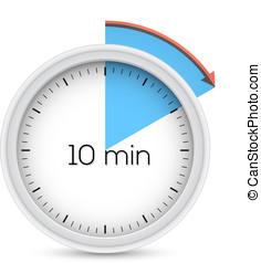 Ten minutes timer - Ten minutes stopwatch timer. Vector...