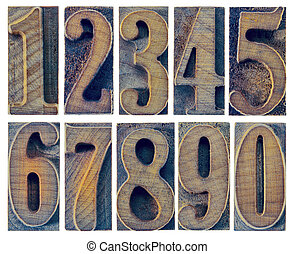 ten numbers in letterpress wood type