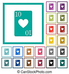 Ten of hearts card flat color icons with quadrant frames