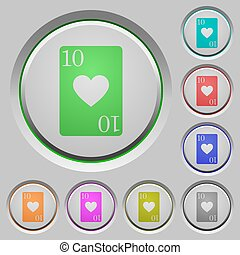Ten of hearts card push buttons