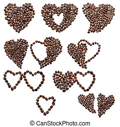 Ten of hearts from coffee beans on a white background