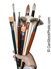 Ten paint brush in the bouquet