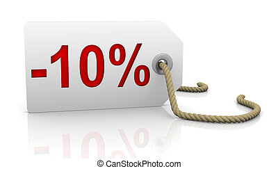 Ten percent discount - White tag with ten percent discount...
