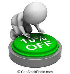 Ten Percent Off Button Means 10 Lower Price