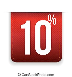 Ten percent off ribbon red