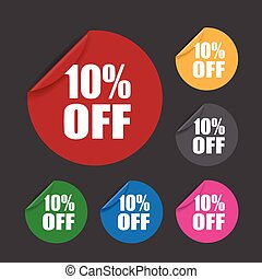 ten percent off stickers