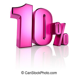 Ten Percent Sign - Pink ten percent sign isolated on white...