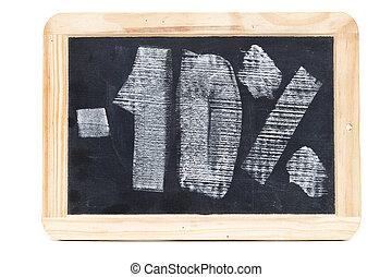 Ten percent written on blackboard over white background