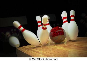 Ten-pin bowling shot. - Red bowling ball is making a strike...