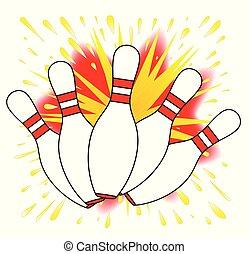 Ten Pin Comic Blast - Abstract cartoon style blast explosion...