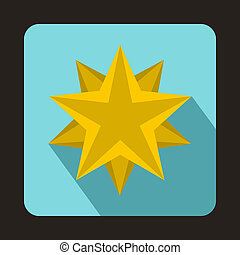Ten pointed star icon, flat style