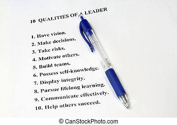 Ten Qualities of a Leader a business concept for human resources and management.